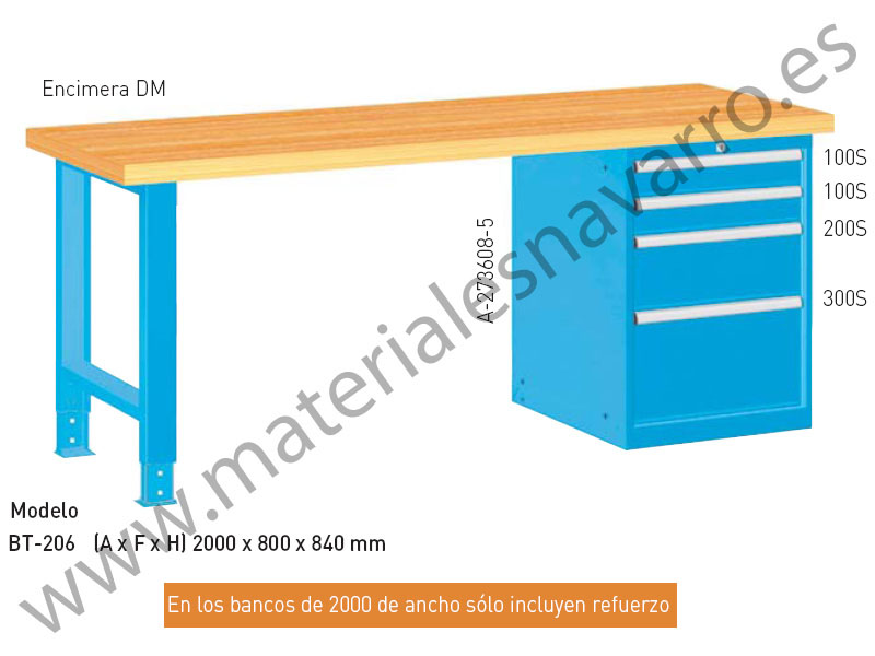 BANCO TRABAJO BT206(A F H)2000X800X840MM