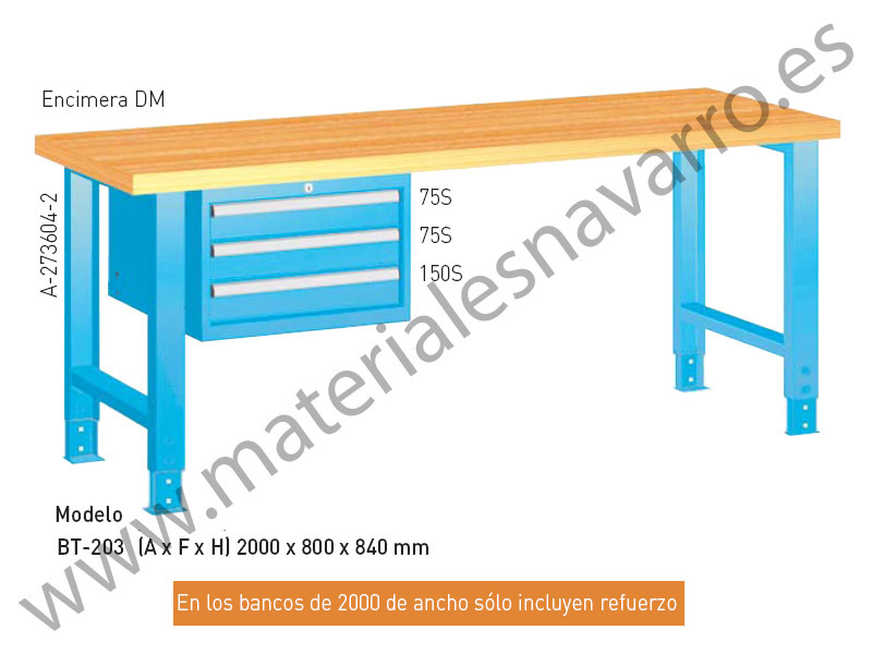 BANCO TRABAJO BT203(A F H)2000X800X840MM