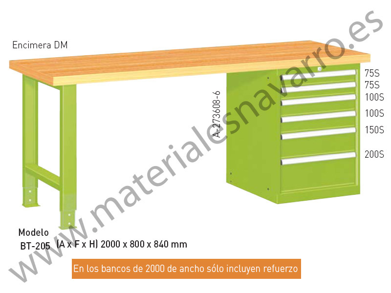 BANCO TRABAJO BT205(A F H)2000X800X840MM